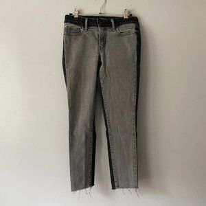 Levi's Two Tone Black Gray Raw Hem Skinny Jeans